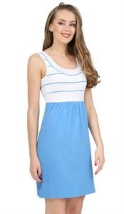 "Picture of ""Tricolor"" Maternity and nursing dress; color: denim / white"