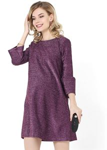 "Picture of Dress ""Ophelia"" for pregnant women; color: burgundy / lurex"
