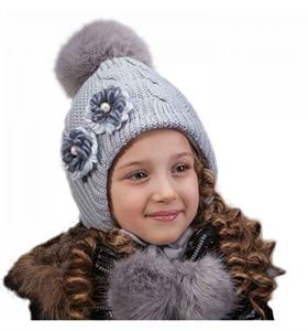 Picture of Children's winter beanie with a large POM-POM and drawstring
