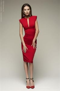 Picture of Dress DM00015RD sleeveless case with a V-neck red