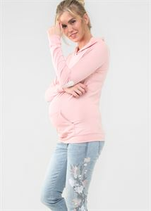"Picture of T-shirt with long sleeves ""Bella"" for pregnant and lactating; color: powdery"