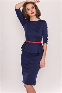 Bild von Kleid DSP-66-41 Mit Basken Und Ausschnitt Auf der Rückseite Blau