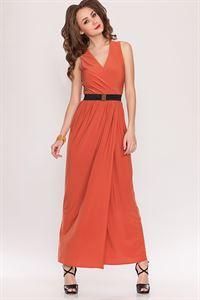 Bild von Kleid DSP-90-12 Ocker Maxi-Länge