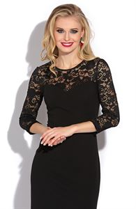 Picture of Dress DSP-132-4t black with lace