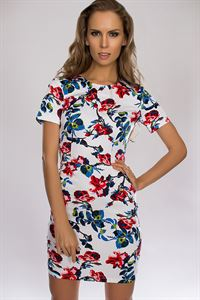 Bild von Kleid DSP-87-13-Baumwolle Weiß/Rose