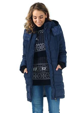 """Изображение Зимняя куртка 3в1 """"Мадейра"""" для беременных и слингоношения; цвет: синий"""