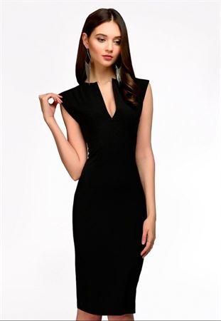 Bild von Kleid DM00015BK ärmelloses Etui mit V-Ausschnitt schwarz