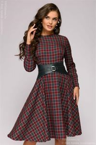 Picture of Dress DM00299BO length mini burgundy plaid long-sleeved