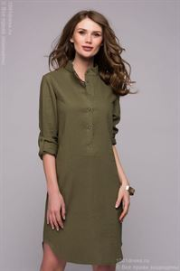 Picture of DM00772GR Shirt dress green with slits on the sides