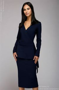 Picture of Suit DM00851DB navy with a wrap jacket and a straight skirt