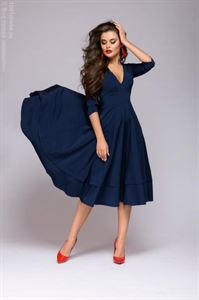 Picture of DM00923DB Dress navy blue 3/4 length low cut with sleeves 3/4