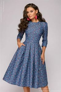 Picture of DM01178BB 3/4 Sleeve Denim Midi Dress with Small Print