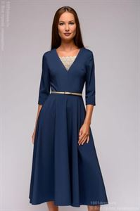 Picture of Dress DM01375LB blue midi length with lace insert and 3/4 sleeves