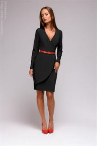 Picture of DM01379BK Sheath Dress Black Low Cut Long Sleeves