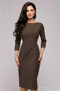 Picture of DM01446CE Dress sheath of chocolate color with small peas with tucks on the skirt and neck