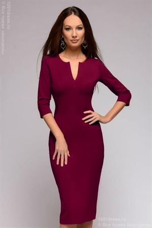 Picture of DM01243BO Sheath dress burgundy with V-neck and 3/4 sleeves