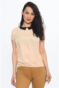 Picture of Blouse FH29788 powder color with a black collar