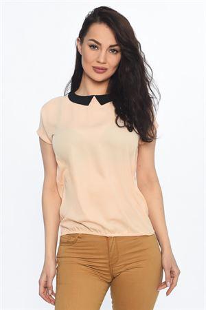 Изображение Блуза FH29788 цвета пудры с черным воротничком