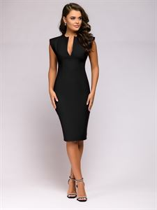 Picture of Dress DM00015BK sleeveless case with V-neck black