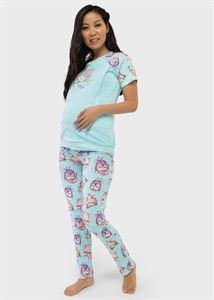 """Image de Kit maison (T-shirt, pantalon) pour femme enceinte et alimentation """"Lucas""""; Azur"""