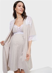 "Picture of Set in a maternity hospital with lace (shirt ""robe) for pregnant women and feeding"" Dolce; beige"