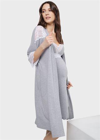 """Bild von Set in einem Entbindungsheim mit Spitze (Hemd """"Robe) für schwangere Frauen und Fütterung"""" Dolce; grau"""