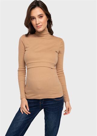 """Bild von Warmer Rollkragenpullover """"Caitlin"""" für schwangere und stillende Frauen; Beige"""