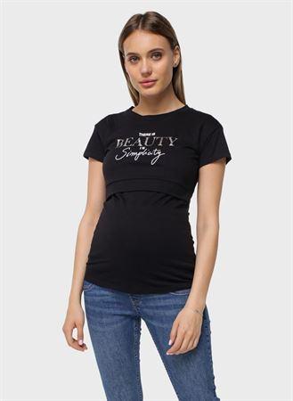 """[translate] Изображение T-shirt """"Nika"""" pour les femmes enceintes et allaitantes; couleur noire"""