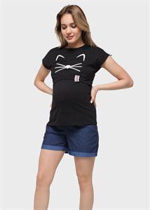 Bild von Lana Mutterschafts- und Still-T-Shirt; das Schwarze