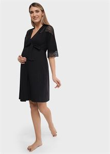 "Picture of Set in a maternity hospital with lace (shirt ""robe) for pregnant women and feeding"" Dolce; black color"