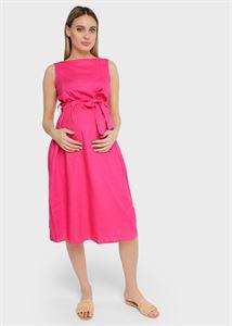 """Bild von Leinenkleid """"Iolanta"""" für schwangere und stillende Frauen; Farbe: Fuchsia"""
