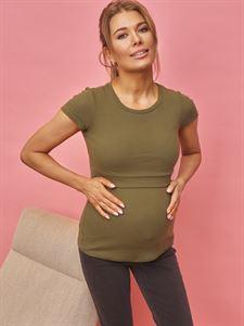 """Image de T-shirt """"Vesta"""" pour femmes enceintes et allaitantes; kaki"""