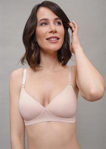 """Obrazek Biustonosz bez fiszbin dla kobiet w ciąży i karmiących """"Stacy"""" grube miseczki beżowe"""