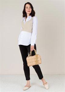"""Image de Blouse (chemise) à manches longues pour femmes enceintes et allaitement """"Arina""""; blanc"""